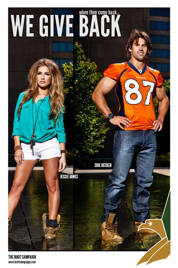 635db17e0a3 Check out Country Music Star Jessie James and her fiance Denver Broncos  Wide Receiver Eric Decker getting their BOOTS on for our troops!