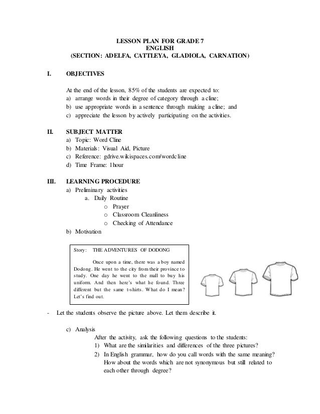 Lesson Plan For Grade 7 English (Section: Adelfa, Cattleya