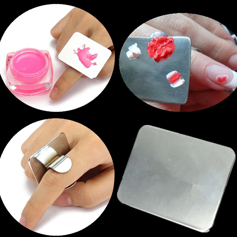 Nail  paint Tool Stainless Steel Beautiful Glue Ring Alloy Finger Nail painting Palette--CJNH08