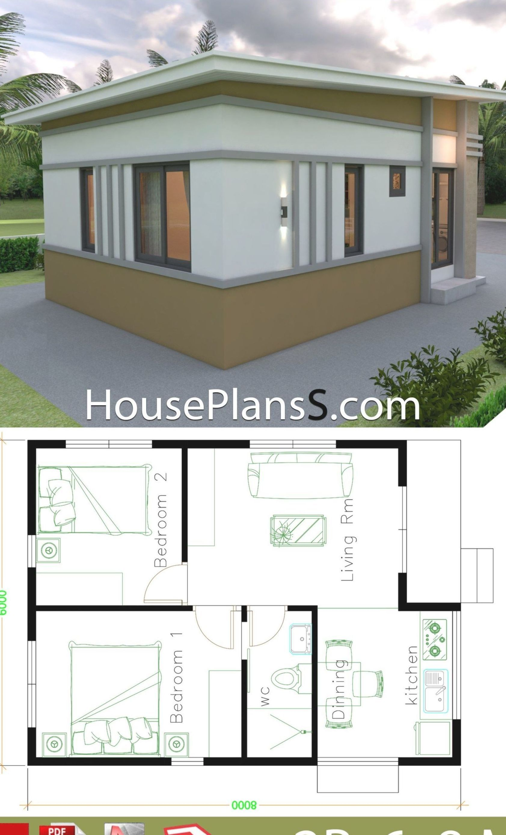 Small House Design Plans 6x8 With 2 Bedrooms House Plans Sam Small House Design Plans House Plans Small House Design