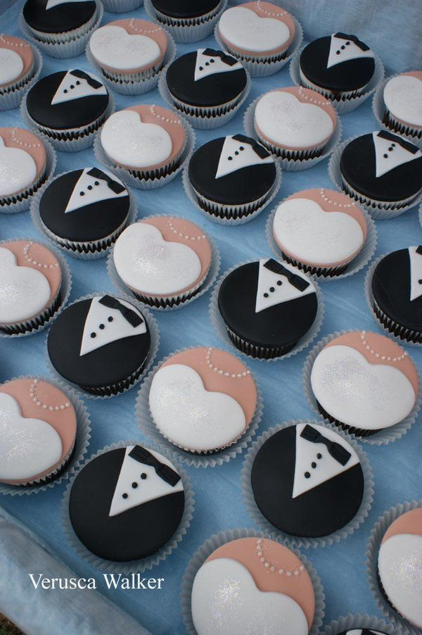 cupcake recipes for bridal shower%0A     chocolate mudcake cupcakes decorated with fondant  Wedding dress and  suit cupcake