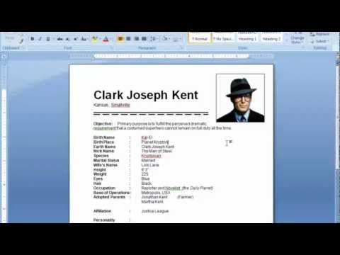 ms word tutorial how to insert picture in resume youtube