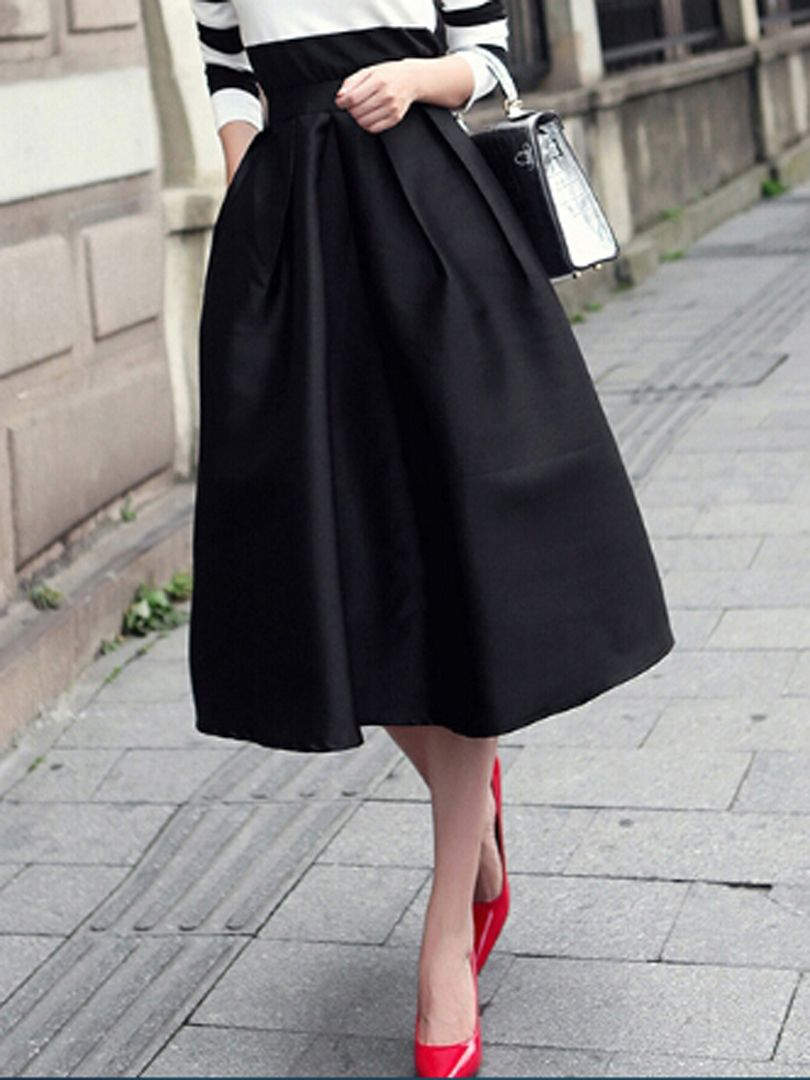 Black High Waist Ruched Midi Skirt - Choies.com | High waist ...