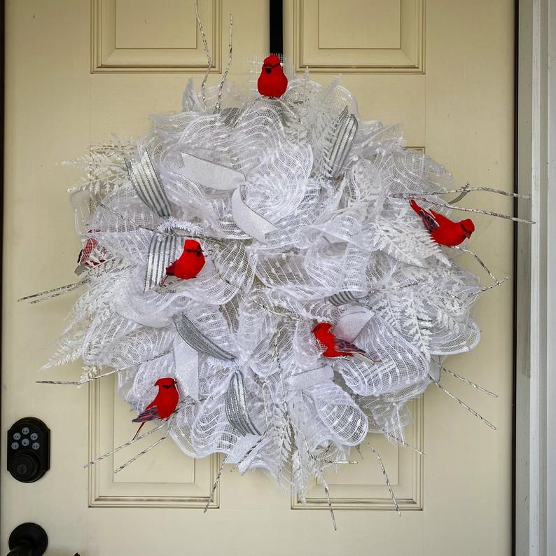 Cardinal wreath winter wreath front door wreath cardinal