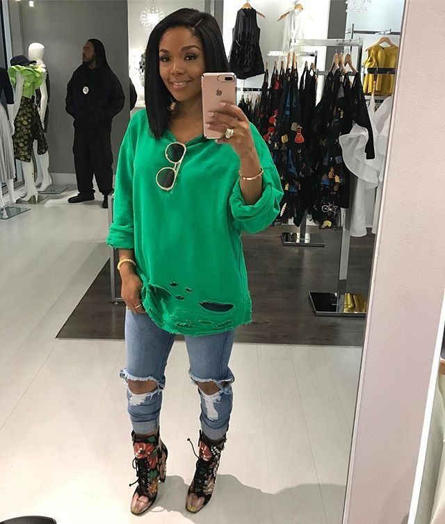 """Rasheedadabosschick on Instagram: """"Quick #workselfie we in here @pressedatl open till 6pm today come by!! So the Green Distressed sweatshirt is available in-store only call…"""""""