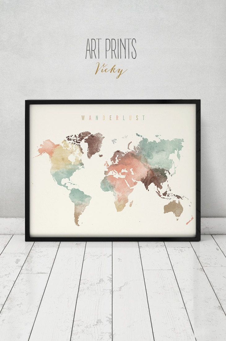 Wanderlust world map watercolor print pastel world map poster wanderlust world map watercolor print pastel world map poster travel map large map gift typography art home decor artprintsvicky gumiabroncs Images
