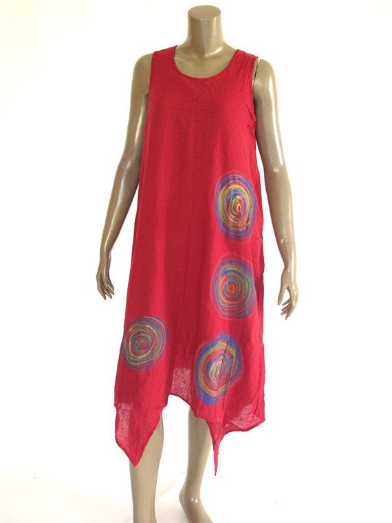 Maroon Red Gorgeous hand painted Dress with Liner by NaniFashion, $74.99