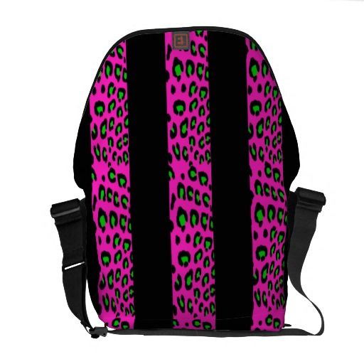 Pink and Green Leopard Stripes Courier Bags
