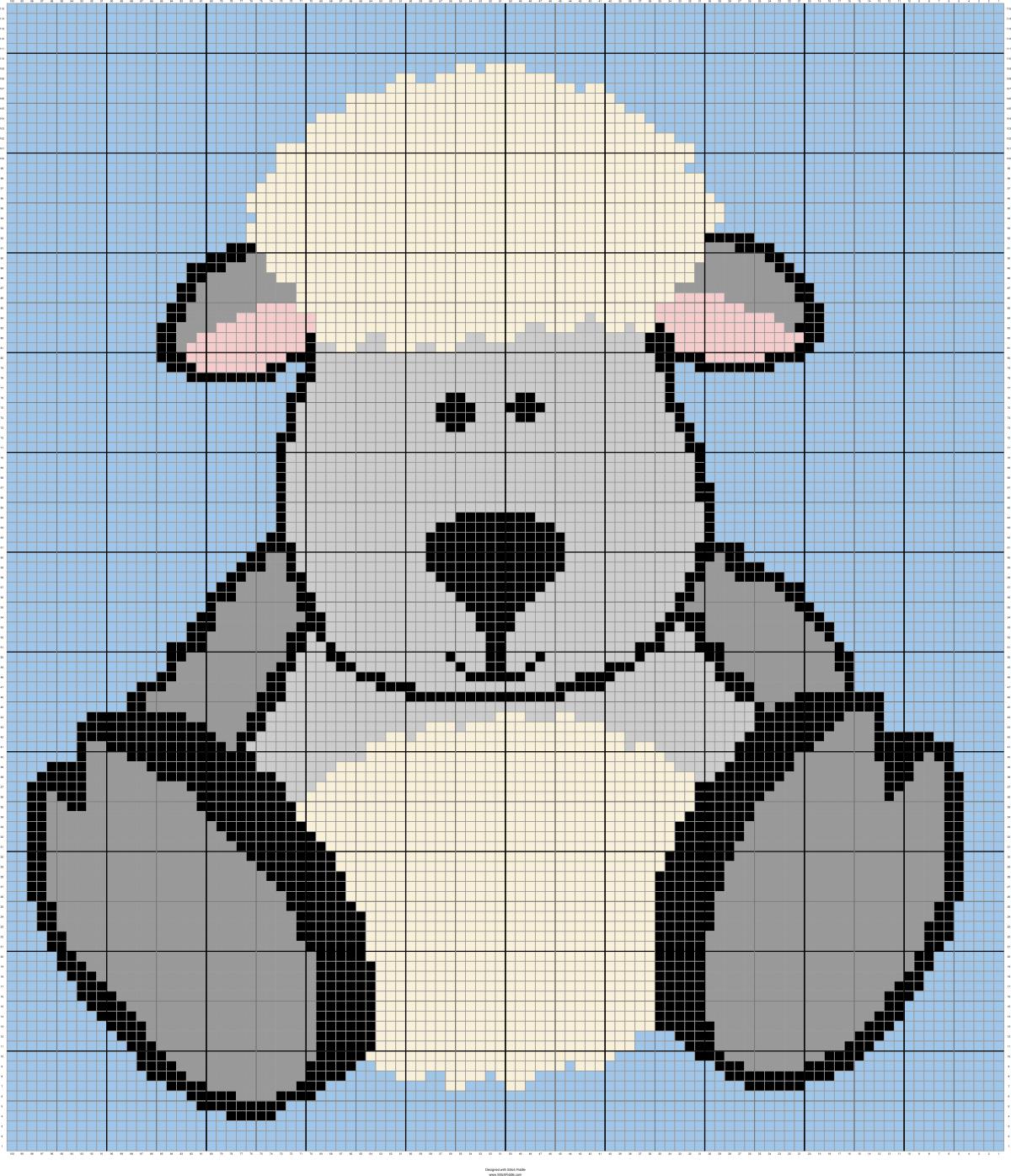 C2C Lamb - Jilly\'s Crochet Graphs | C2C Crochet and Graphgan | Pinterest