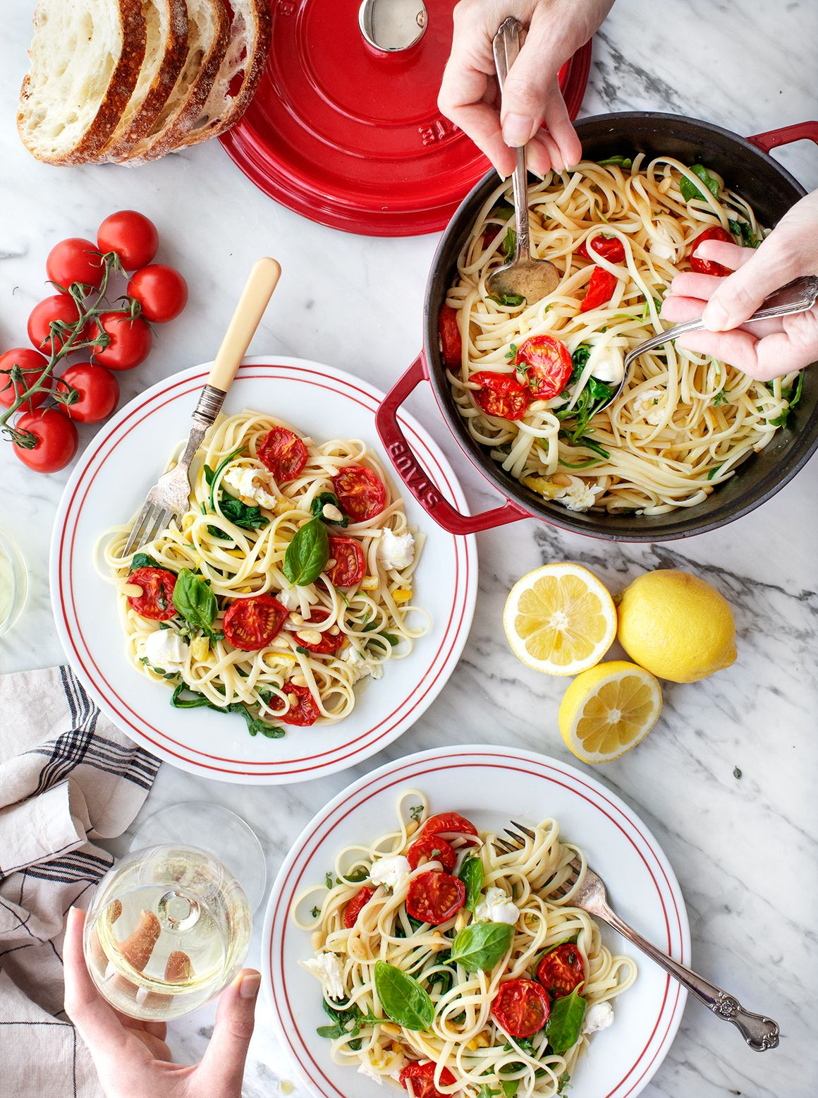 Tomato Lemon Linguine This lemon linguine pasta is a simple, yet elevated, healthy dinner recipe! Roasted tomatoes, basil, mozzarella & lemon fill it with rich, savory & fresh flavors. | Love and Lemons