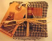 Primitive  Homespun Coffee Cup Coaster Trivet Quilt Candlemat Placemat Country Farmhouse