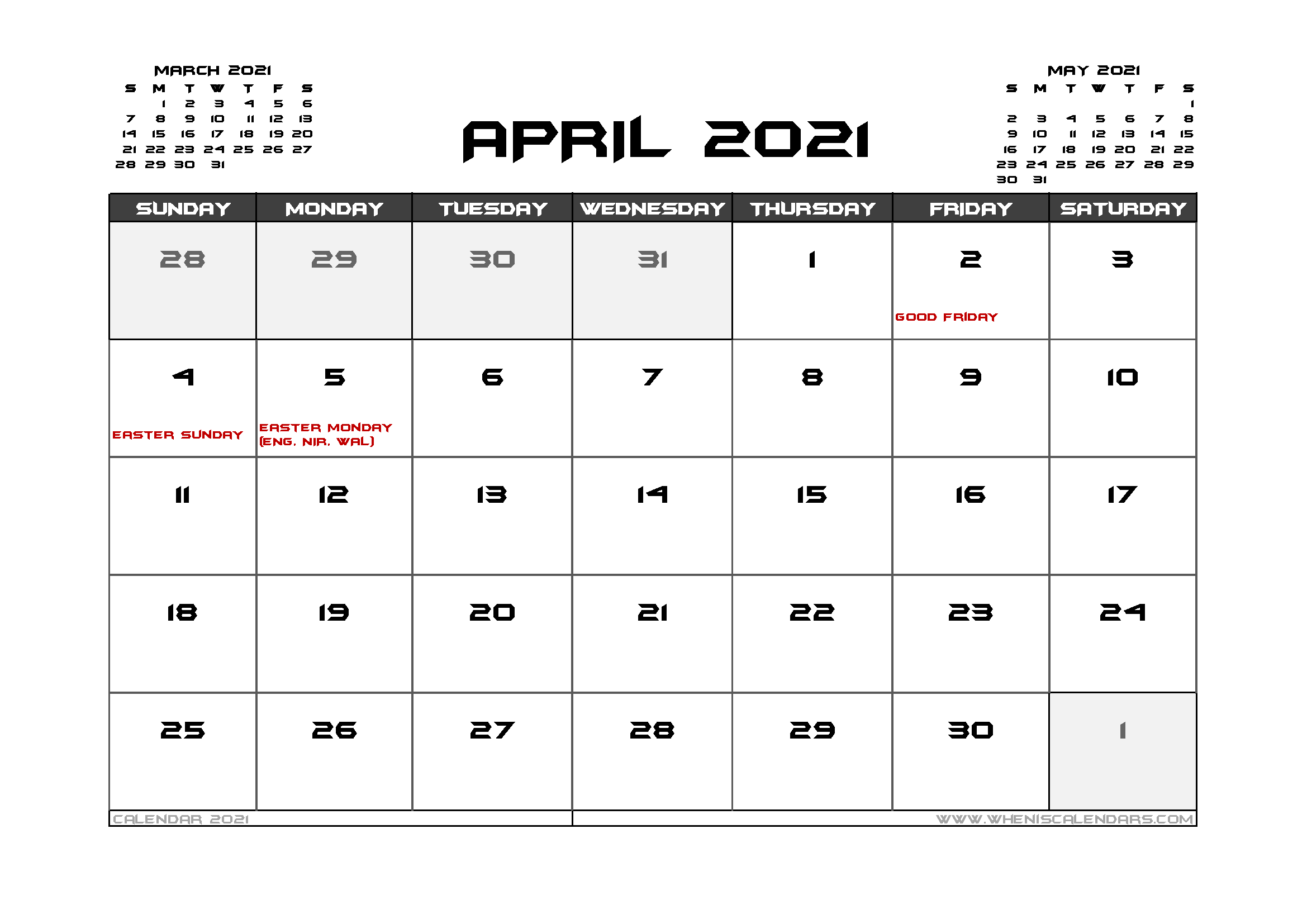 April 2021 Calendar Uk Printable Calendar Printables Calendar Uk Monthly Calendar Printable
