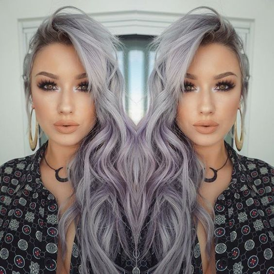 Witchy Lavender-Grey Waves | Wave hair, Hair coloring and Lavender