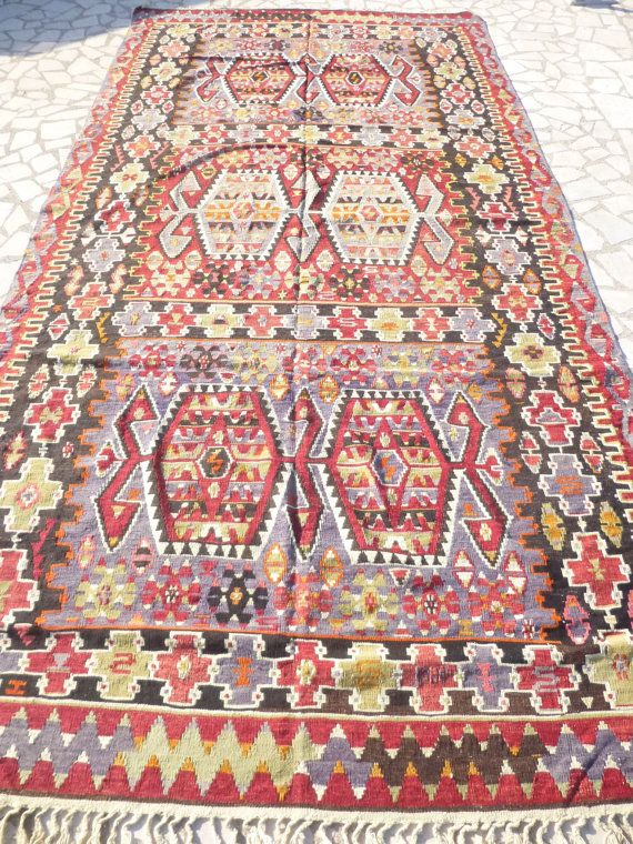 $1355 Large Colorful Turkish Kilim Rug, Ethnic Kilim Carpet ...