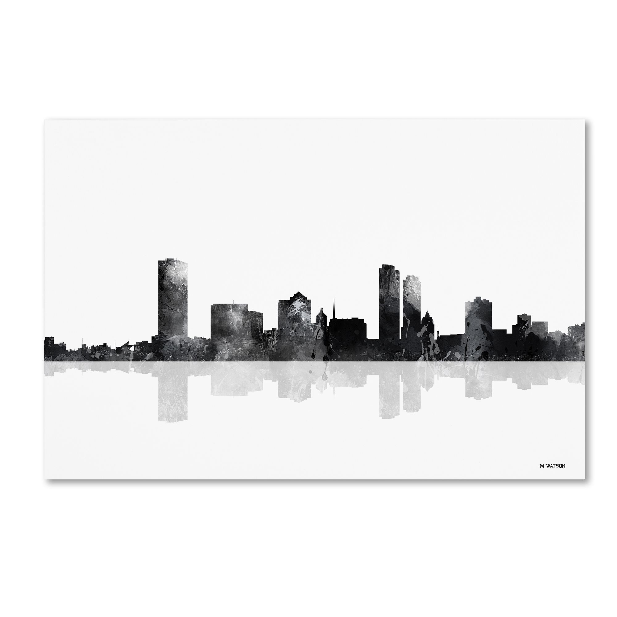 This ready to hang, gallery-wrapped art piece features a black and ...