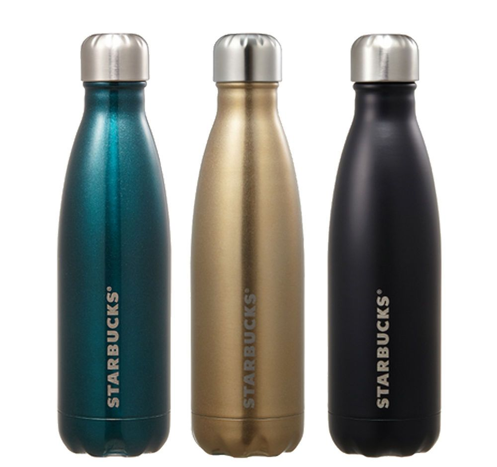 Starbucks Korea Autumn 2017 Ss Swell Champagne Blue Black Water Bottle 502ml Set