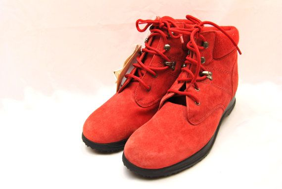 45e9d1a595b 90s Dead Stock Red Suede Hiking Boots Womens 10M by TheArtsyAttic ...