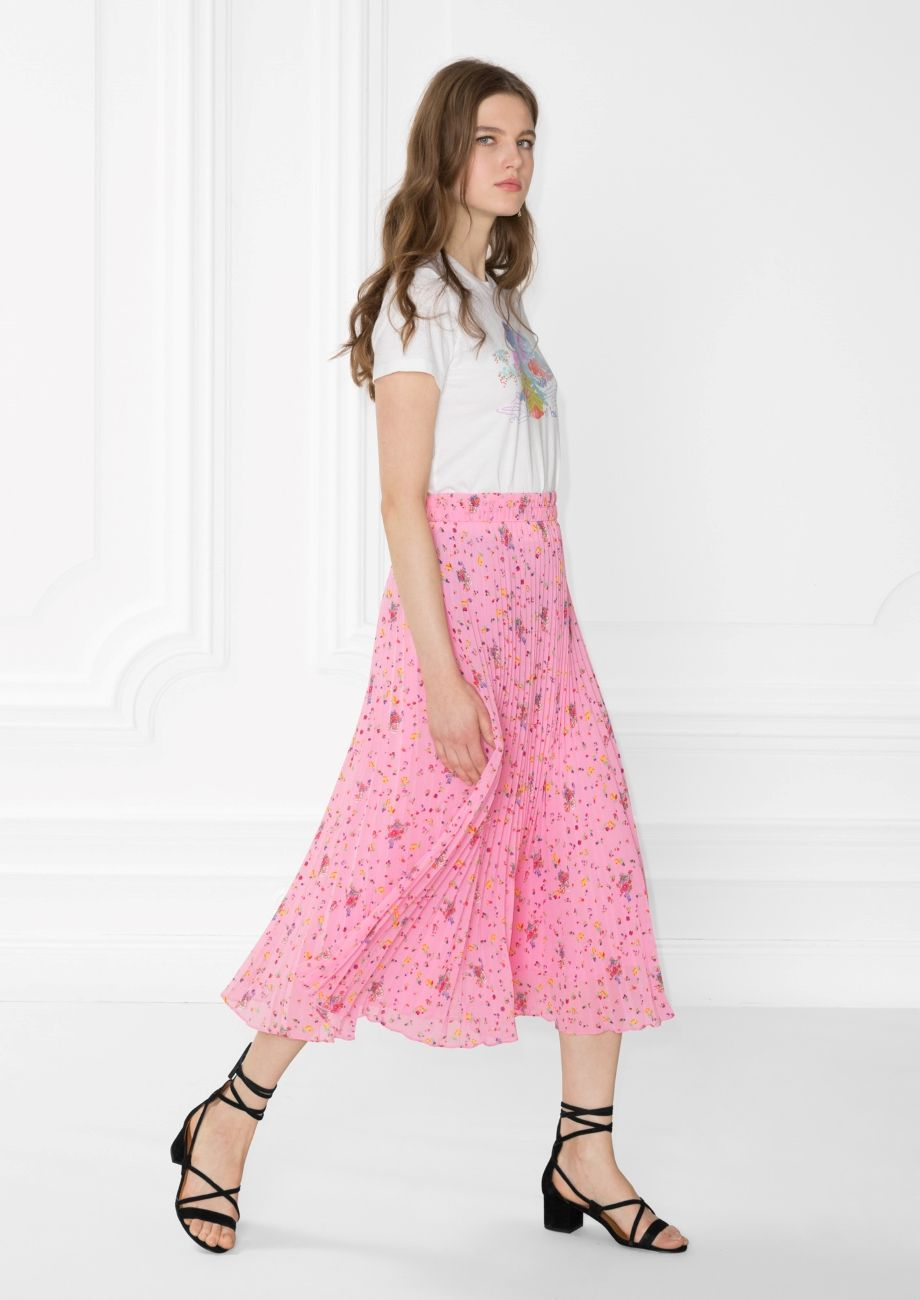 & Other Stories image 2 of Pleated Skirt in Pink Pear Print   skirts ...