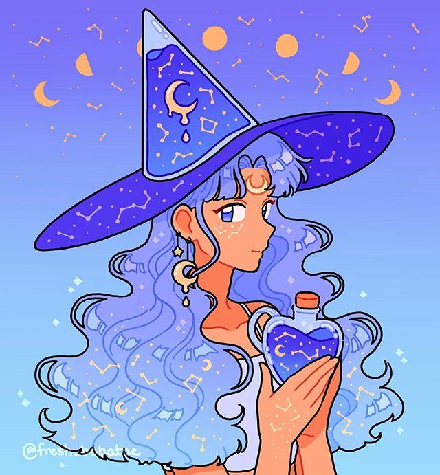 Moon Witch Cute Art Kawaii Art Cartoon Art Styles