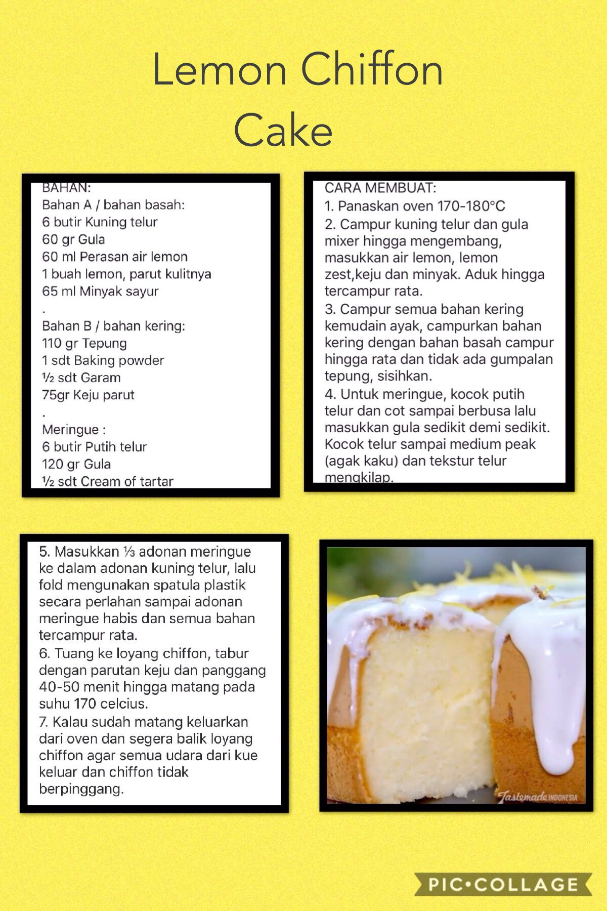 Lemon Chiffon Cake Makanan Resep Resep Kue