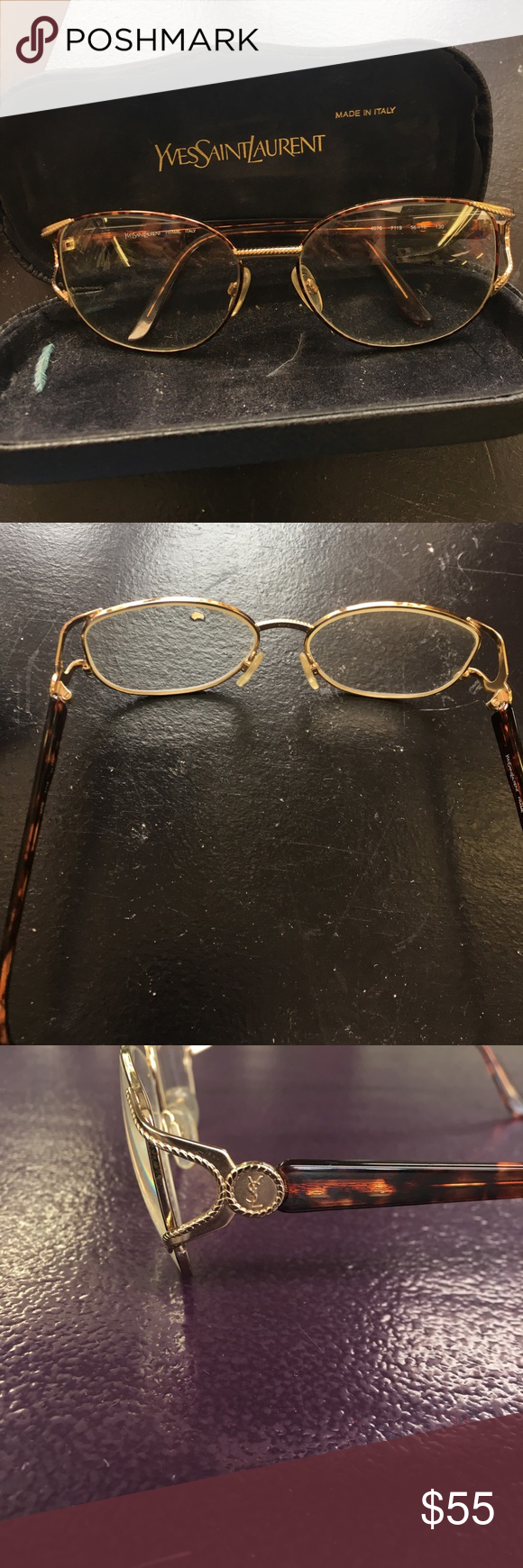 YSL vintage glasses and case These gold metal and tortoise