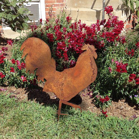 Great Rooster Garden Stake / Garden Art / Chicken By RusticaOrnamentals, $34.99