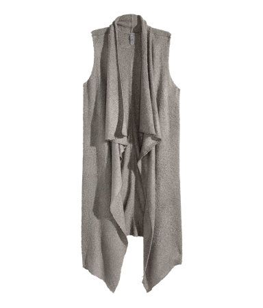 Fine-knit grey vest with draped shawl collar. | Warm in H&M