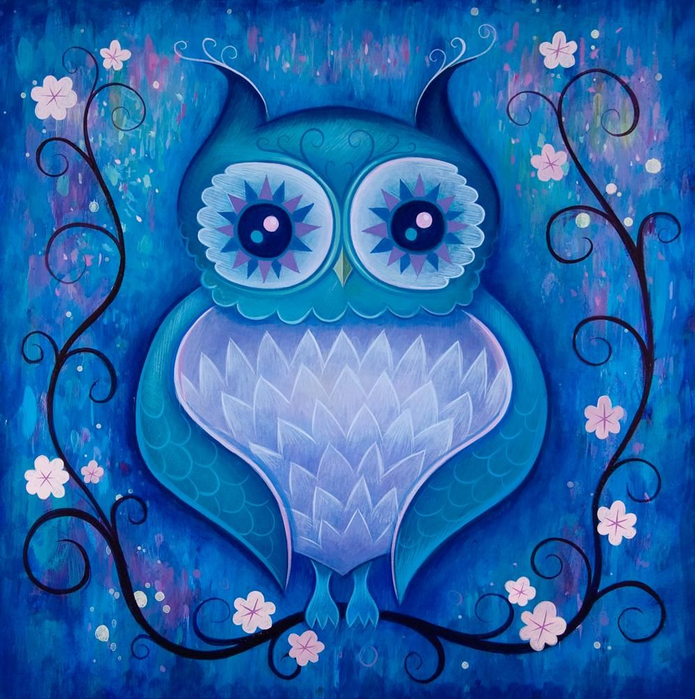 "GORGEOUS /""NIGHT OWLS /"" WATERCOLOUR CANVAS PRINTED FABRIC SHEET.HAIR BOWS CRAFTS"