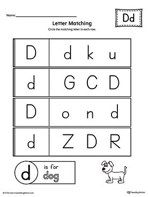 Letter D Uppercase and Lowercase Matching Worksheet | Alphabet ...
