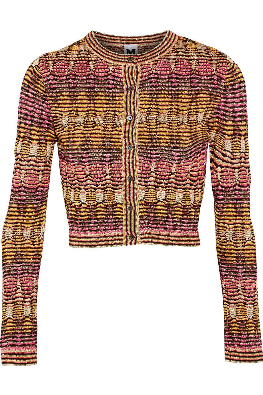 2395f5de867963 M MISSONI Cropped Metallic Crochet-Knit Cardigan. #mmissoni #cloth #cardigan