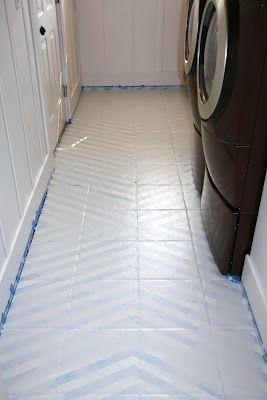How To Paint Tile Floors A Tutorial Love Stitched Painting Tile Floors Painting Tile Ceramic Floor Tile