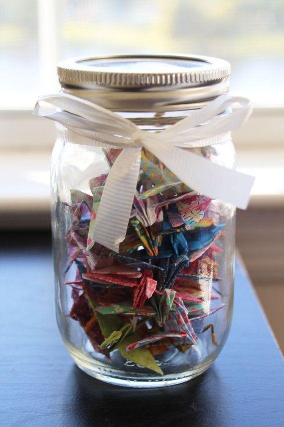 mason jar origami paper cranes gifts