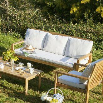 Salon de jardin 5 places : Canapé + 2 fauteuils + table basse ...