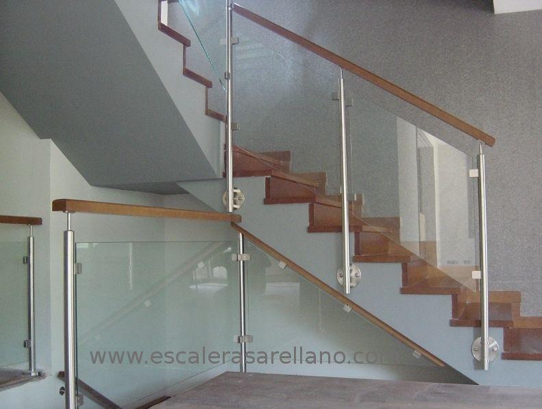 Barandillas de acero inoxidable madera y cristal - Escaleras de acero y cristal ...