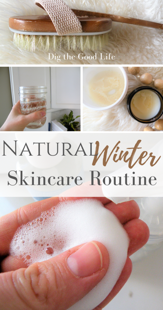 Natural winter skin care routine. Nontoxic cleansing