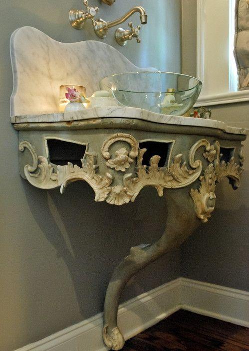 Bradshaw Designs San Antonio Bath Design Antique Bath Vanity Carrara Marble Top Glass Vessel