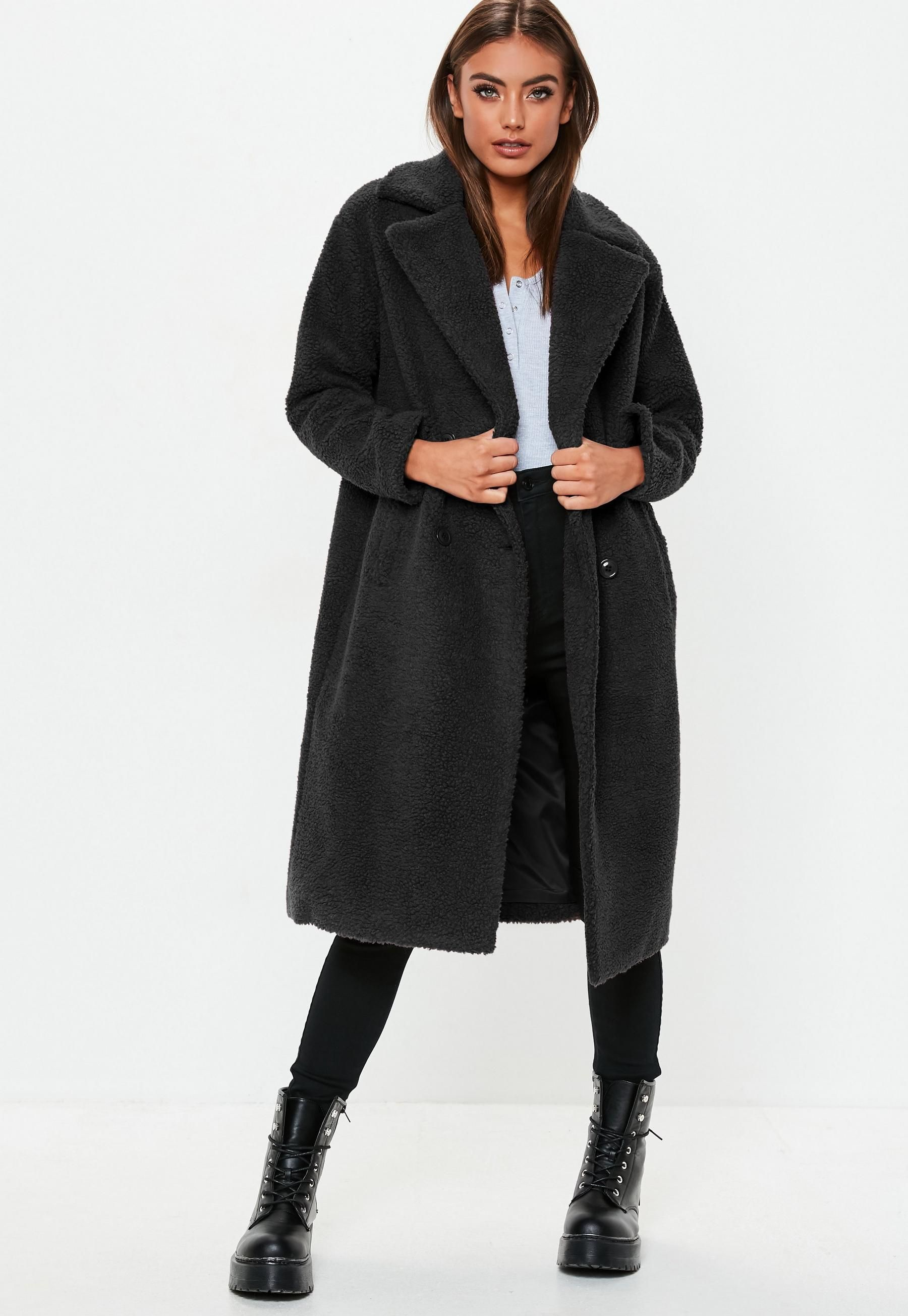popular stores new concept the latest Tall Black Longline Borg Teddy Coat   Missguided   Missguided outfit