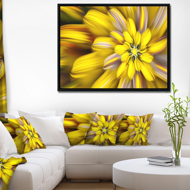 Designart Massive Yellow Fractal Flower Floral Framed Canvas Art