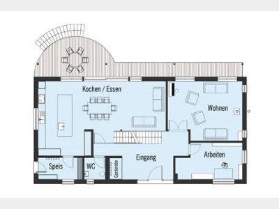Landhaus Bond Grundriss EG. Energiesparhaus mit riesiger Terrasse und Sitzplatz für laue Sommerabende