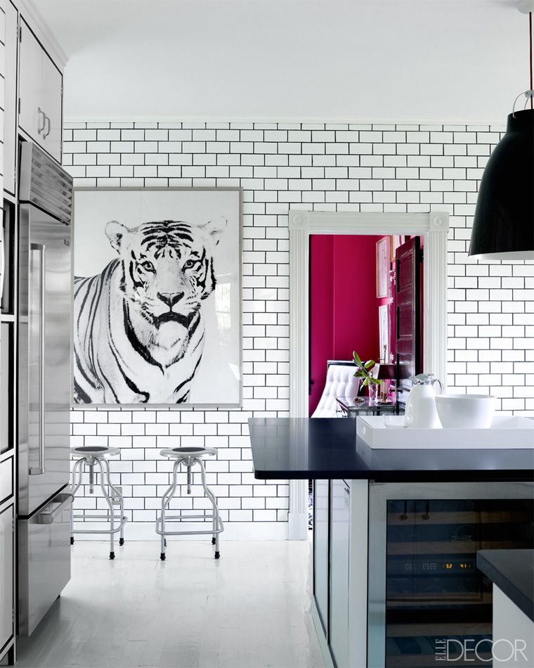 White subway tile with contrasting dark grout hightlights each individual tile the brick bond - White brick tiles black grout ...