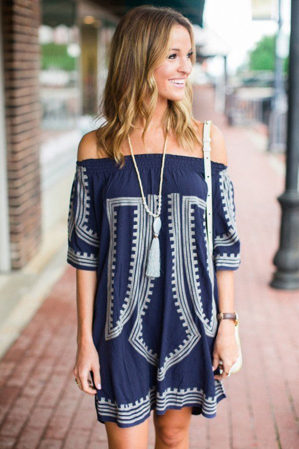 29bb9acddcf8 Navy Blue Bohemian Vibe Geometric Print Off The Shoulder Beach Dress ...