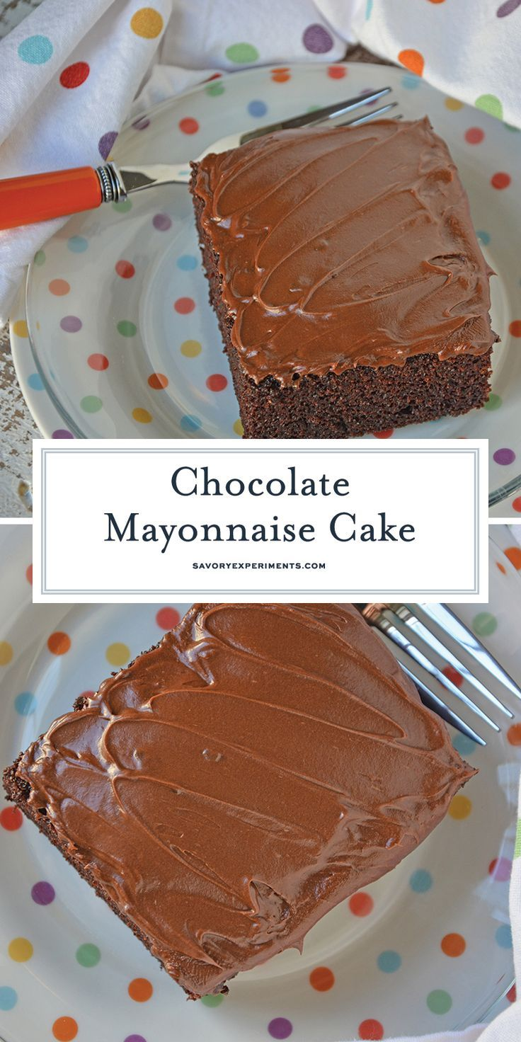 Chocolate Mayonnaise Cake is a moist chocolate cake in a 9x13 pan with chocolate buttercream frosting. One of my favorite recipes from Grandma!