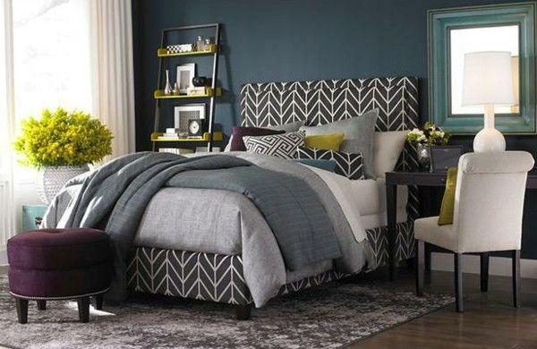 Wunderbar Farbideen Schlafzimmer Einrichten Dunkle Wand Bett