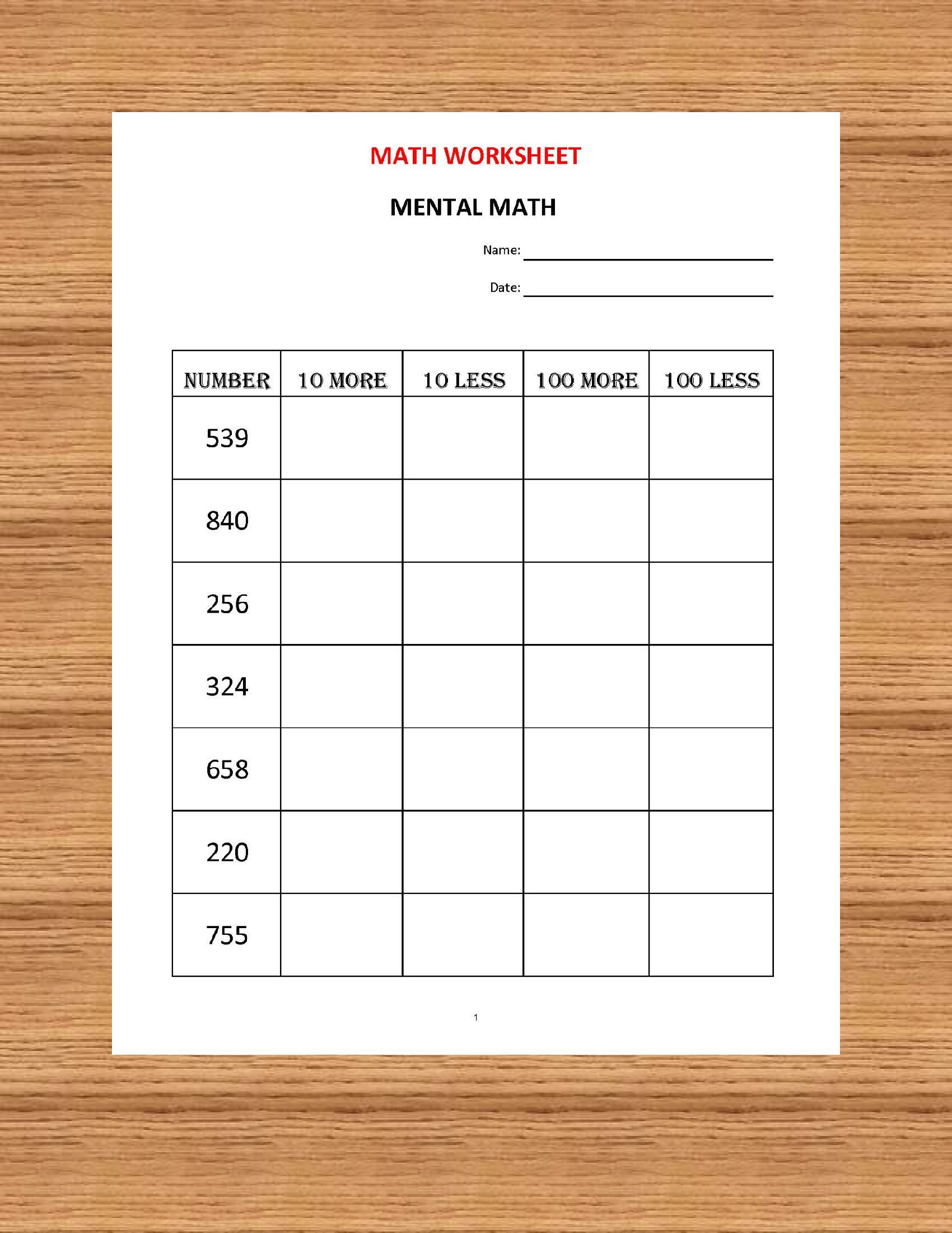 Mental Math 10 Math Worksheets Kindergarten Year 1