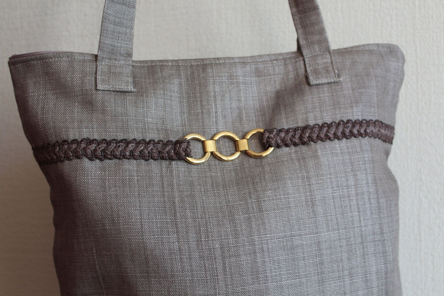 Brown Linen Handbag with Zipper and Inside Pocket by linenquality