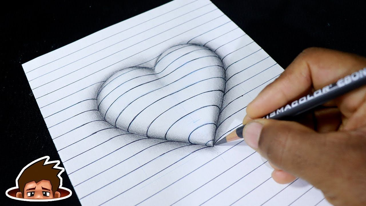 How To Draw 3d Embossed Heart On Paper Corazon En Relieve Art For Kids Youtube 3d Art Drawing 3d Drawings Art Drawings For Kids