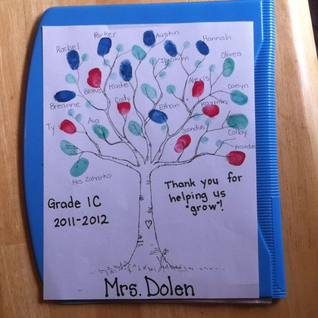 Thank you fingerprint tree from students to teacher for Gift ideas for assistants