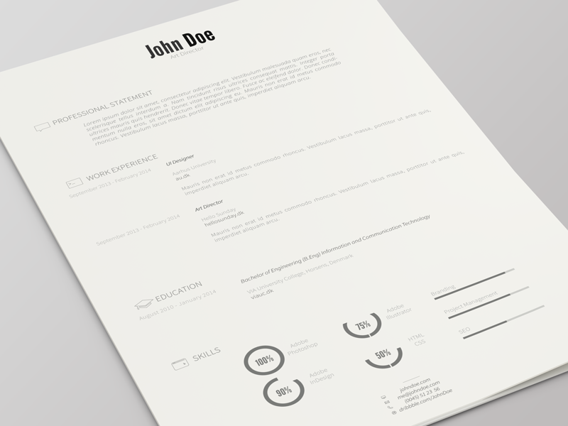 professional john doe resume template beautiful simple and single page resume template created in illustrator feel free to check it out