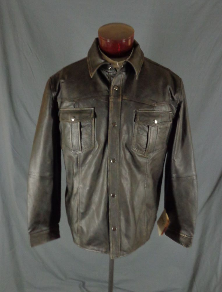 Scully Mens Black Antique Lambskin Leather Triple Stitch Snap Front Jacket-L 52 #Scully #Western