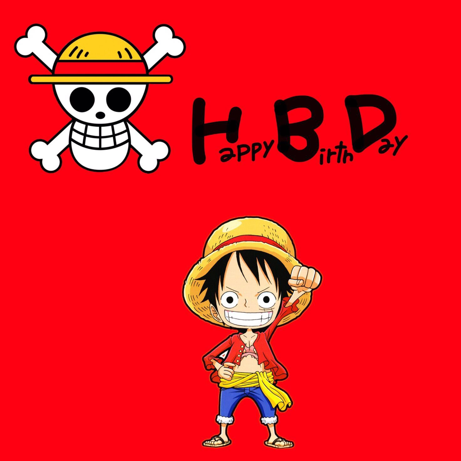 """Postcard """"Happy Birthday"""" with person Monkey d Luffy of"""